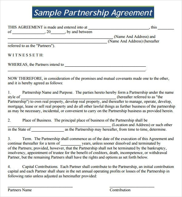 Partnership Agreement Template Pdf Sample Partnership Agreement 24 Free Documents Download