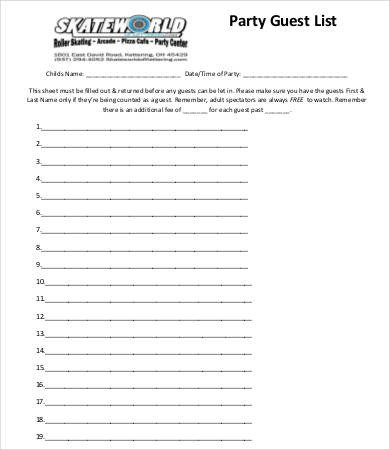 Party Guest List Template Guest List Template 9 Free Word Pdf Excel Documents