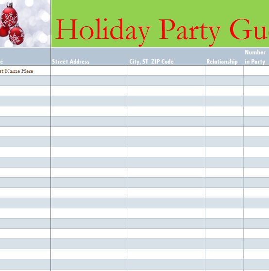 Party Guest List Template Holiday Party Guest List My Excel Templates
