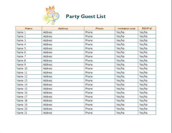 Party Guest List Template Party Guest List