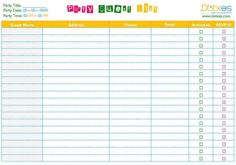 Party Guest List Template Party Guest List Template Word Dotxes