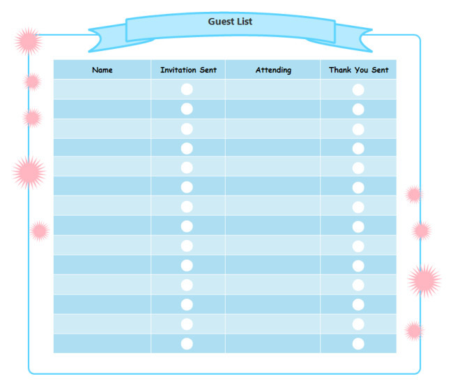 Party Guest List Template Printable Birthday Party Checklist Templates