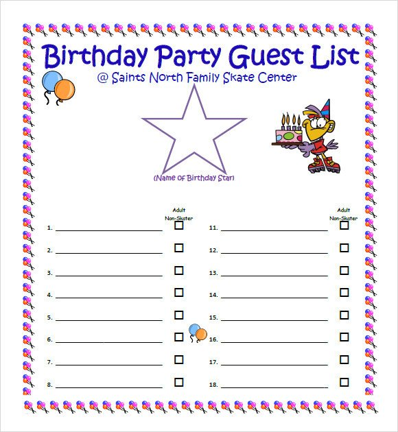 Party Guest List Template Sample Guest List 8 Documents In Pdf Word Excel