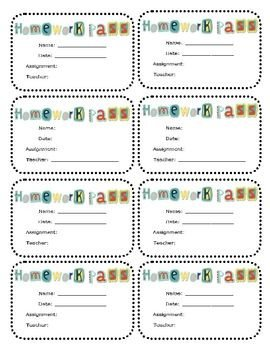 Pass Down Log Template Homework Pass Printable Any Subject or Grade