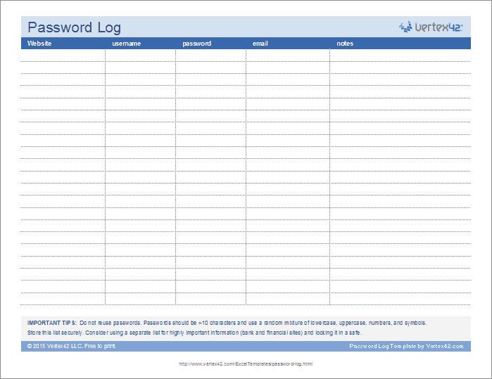 Password Log Template Pdf Password Log Template