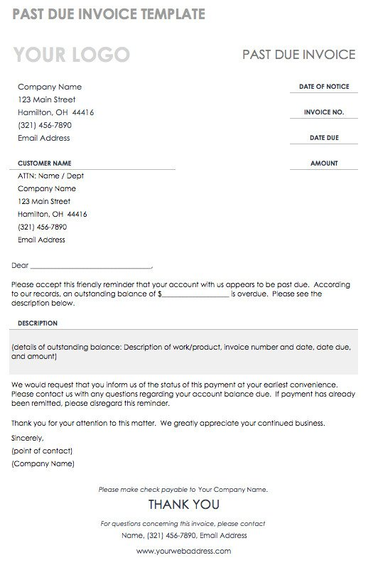 Past Due Invoice Template 55 Free Invoice Templates