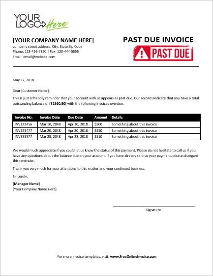 Past Due Invoice Template Free Professional Past Due Invoice