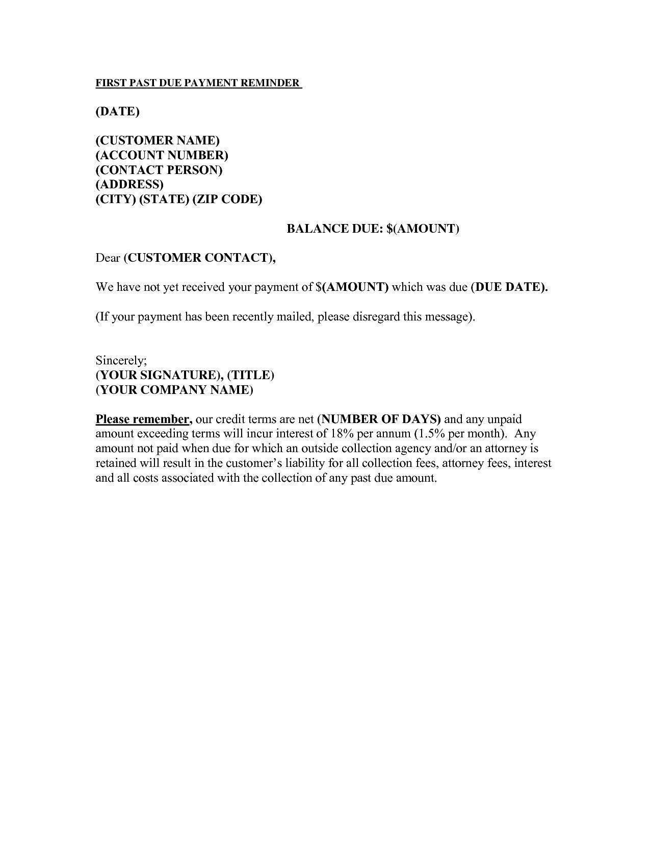 Past Due Invoice Template Past Due Account Letter Infodari