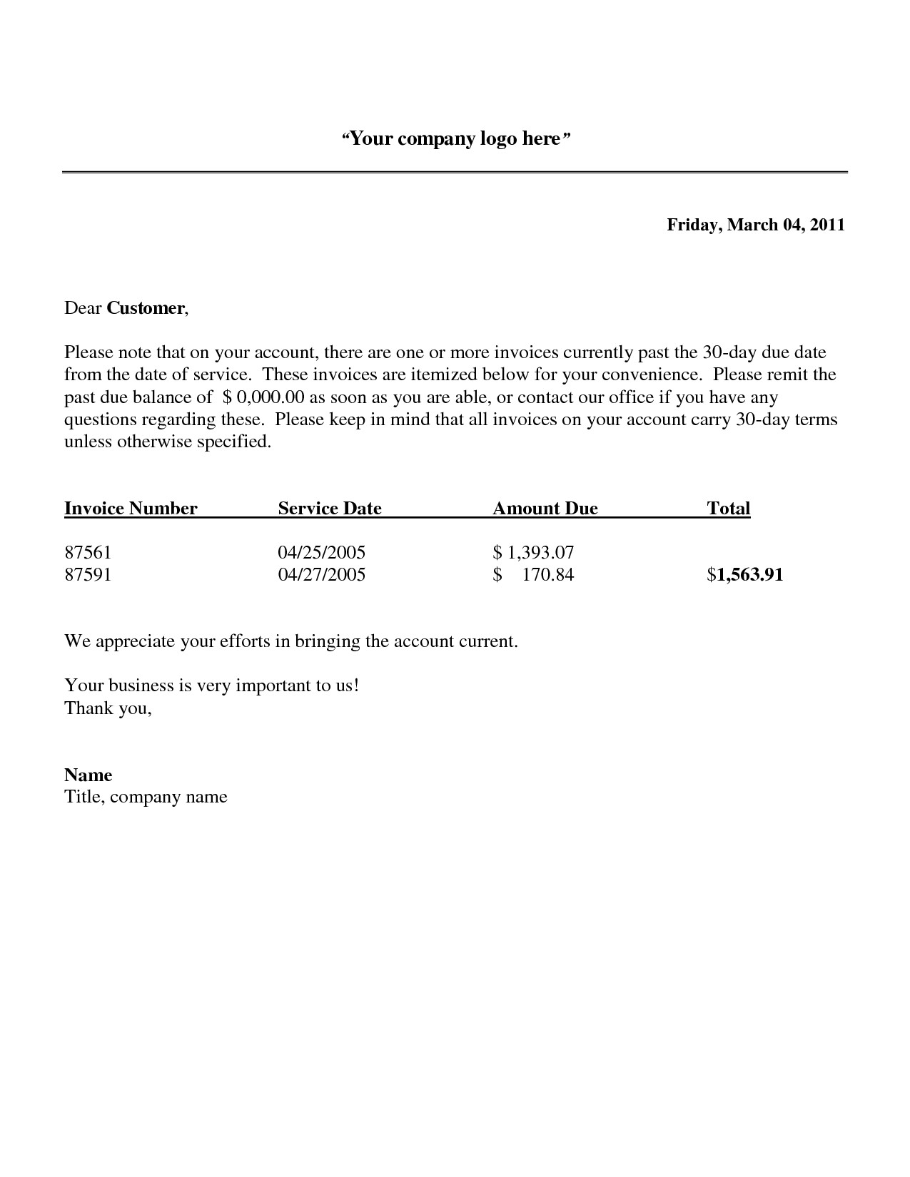 Past Due Invoice Template Professional Payment Due Notice Letter Samples for Your