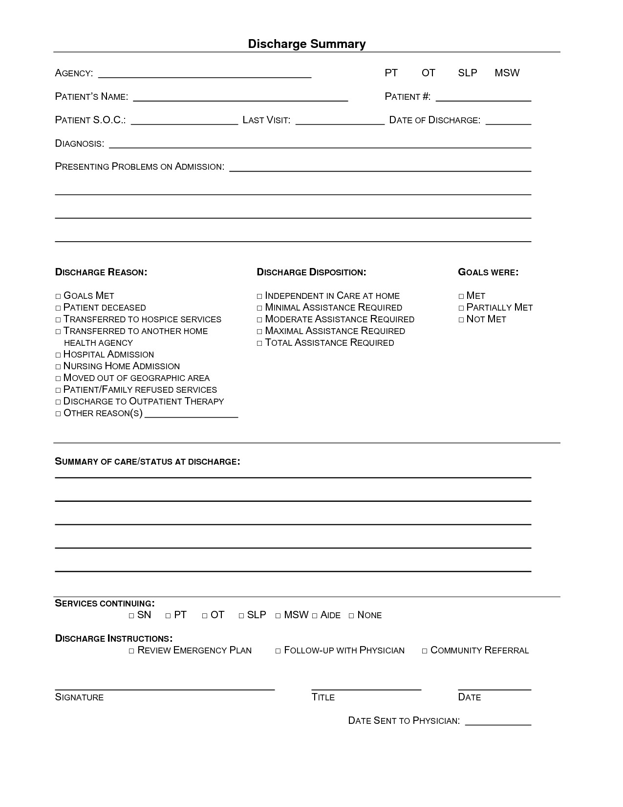 Patient Discharge form Template 15 Of Hospital Emergency Room Discharge Template