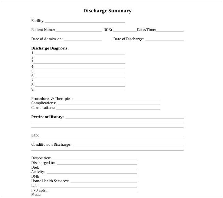 Patient Discharge form Template 27 Sample Summary Templates Pdf Doc