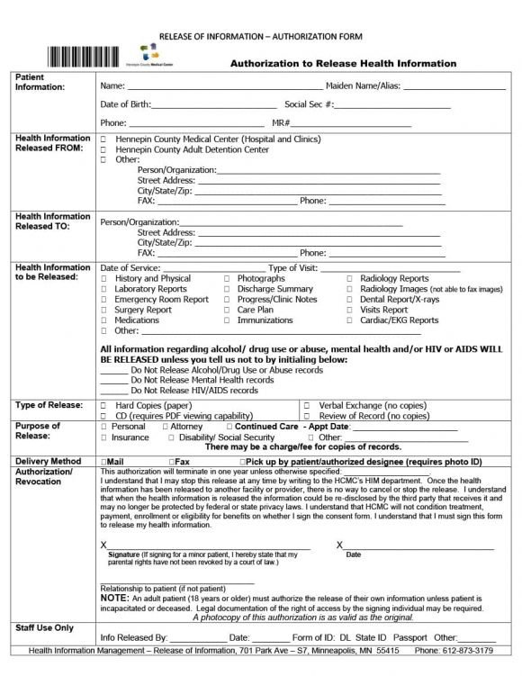 Patient Discharge form Template 40 Medical Records Release form Release Of Information