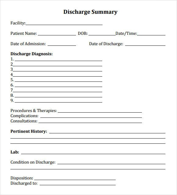 Patient Discharge form Template 8 Sample Discharge Summary Templates Pdf Word