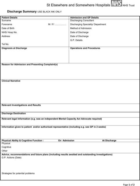 Patient Discharge form Template Discharge Summary Template Templates&forms