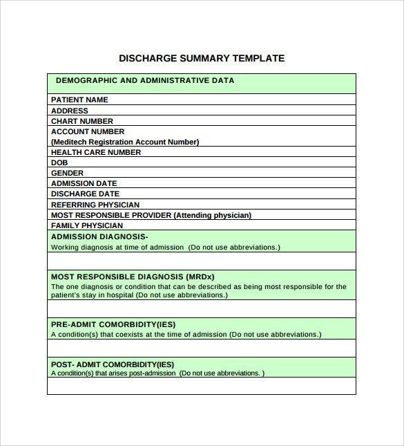 Patient Discharge form Template Sample Discharge Summary 10 Documents In Pdf Word