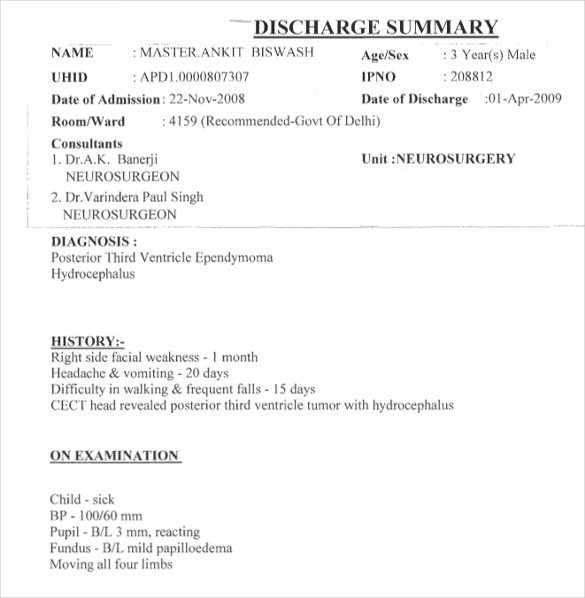 Patient Discharge form Template Sample Discharge Summary 13 Documents In Word Pdf