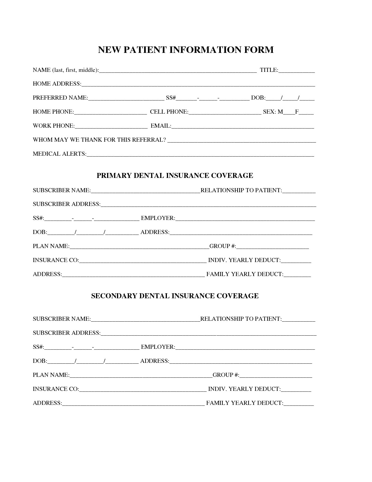 Patient Information form Template 27 Of Dental New Patient forms Template