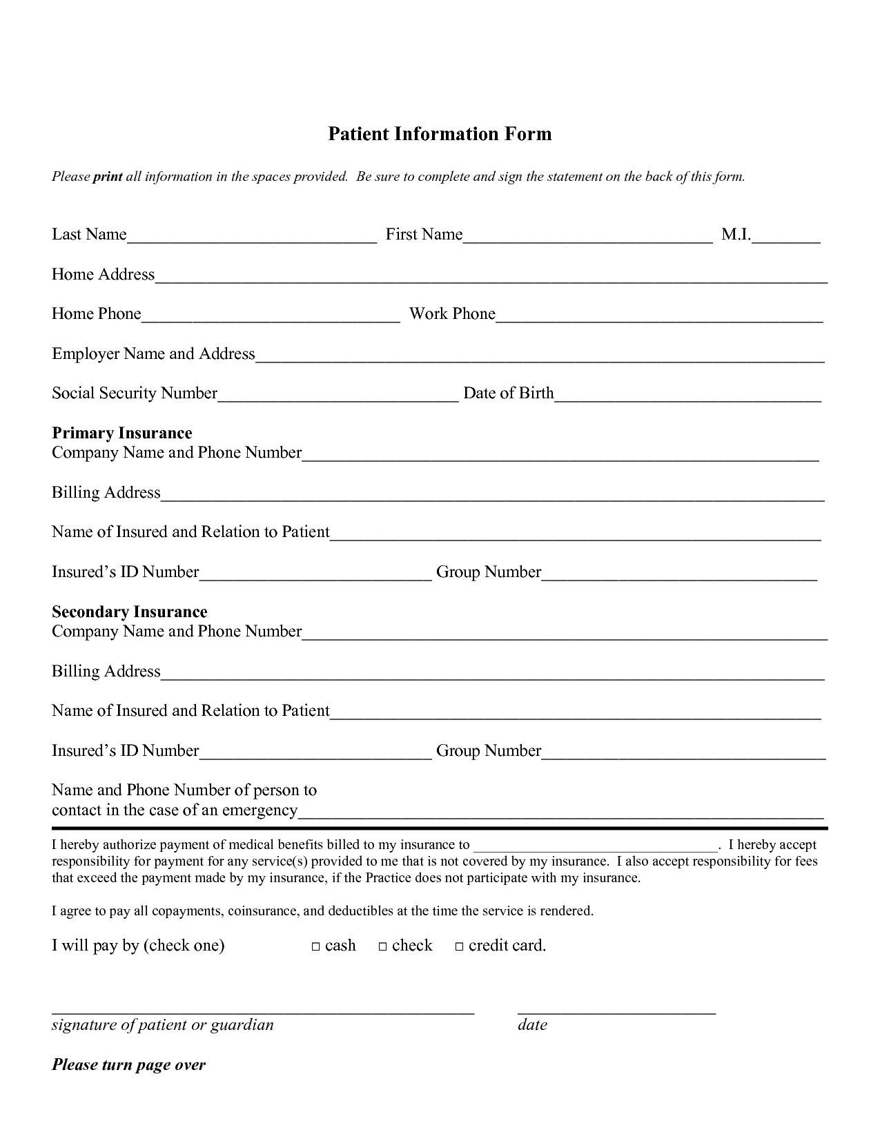 Patient Information form Template Free Personal Information forms