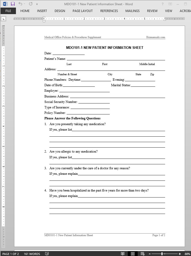 Patient Information form Template New Patient Information Worksheet Template