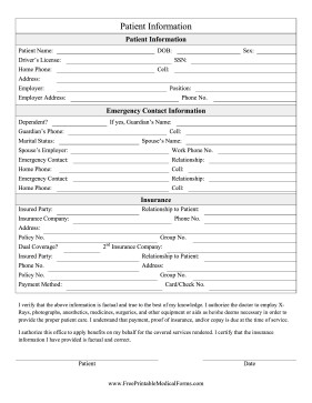 Patient Information form Template Printable Patient Information form