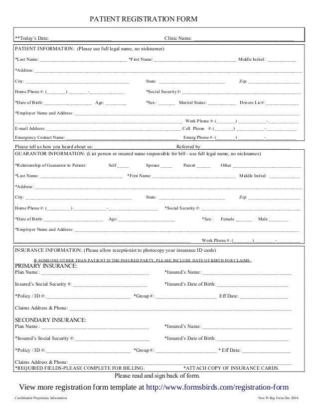 Patient Information form Template Registration form Template