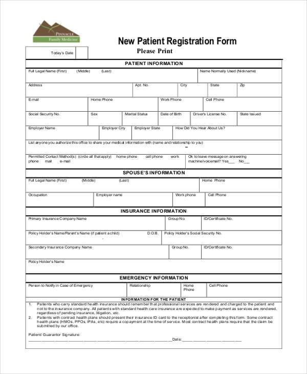 Patient Information form Template Registration form Templates
