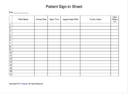 Patient Sign In Sheet Patient Sign In Sheet Extended Template