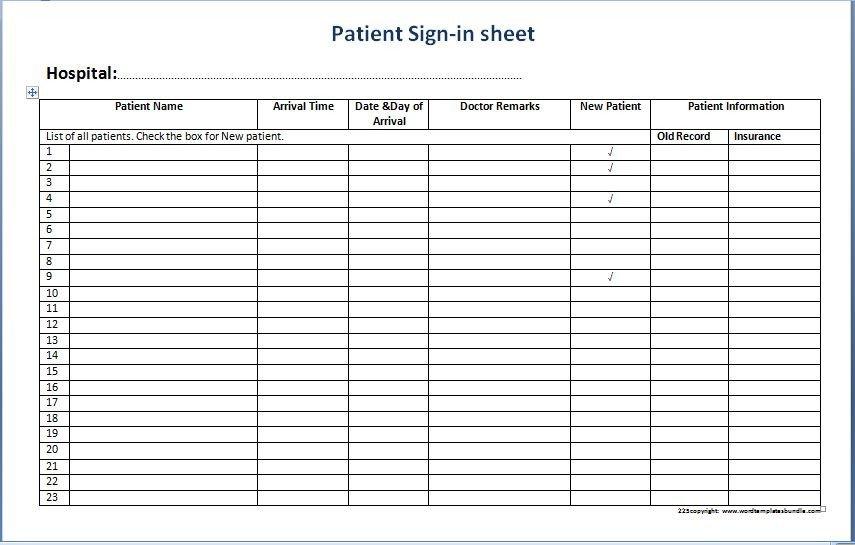 Patient Sign In Sheet Patient Sign In Sheet Templates