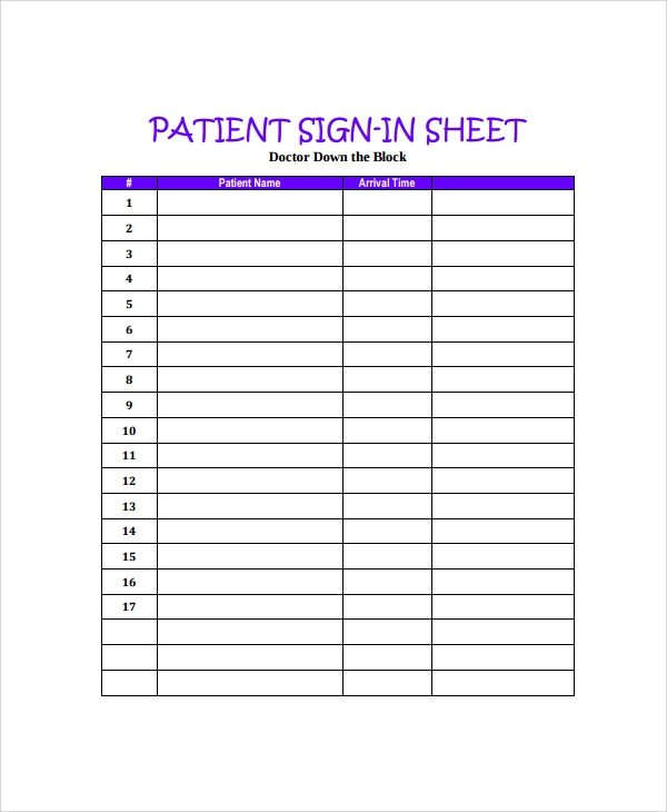 Patient Sign In Sheet Sample Doctor Sign In Sheet 7 Free Documents Download