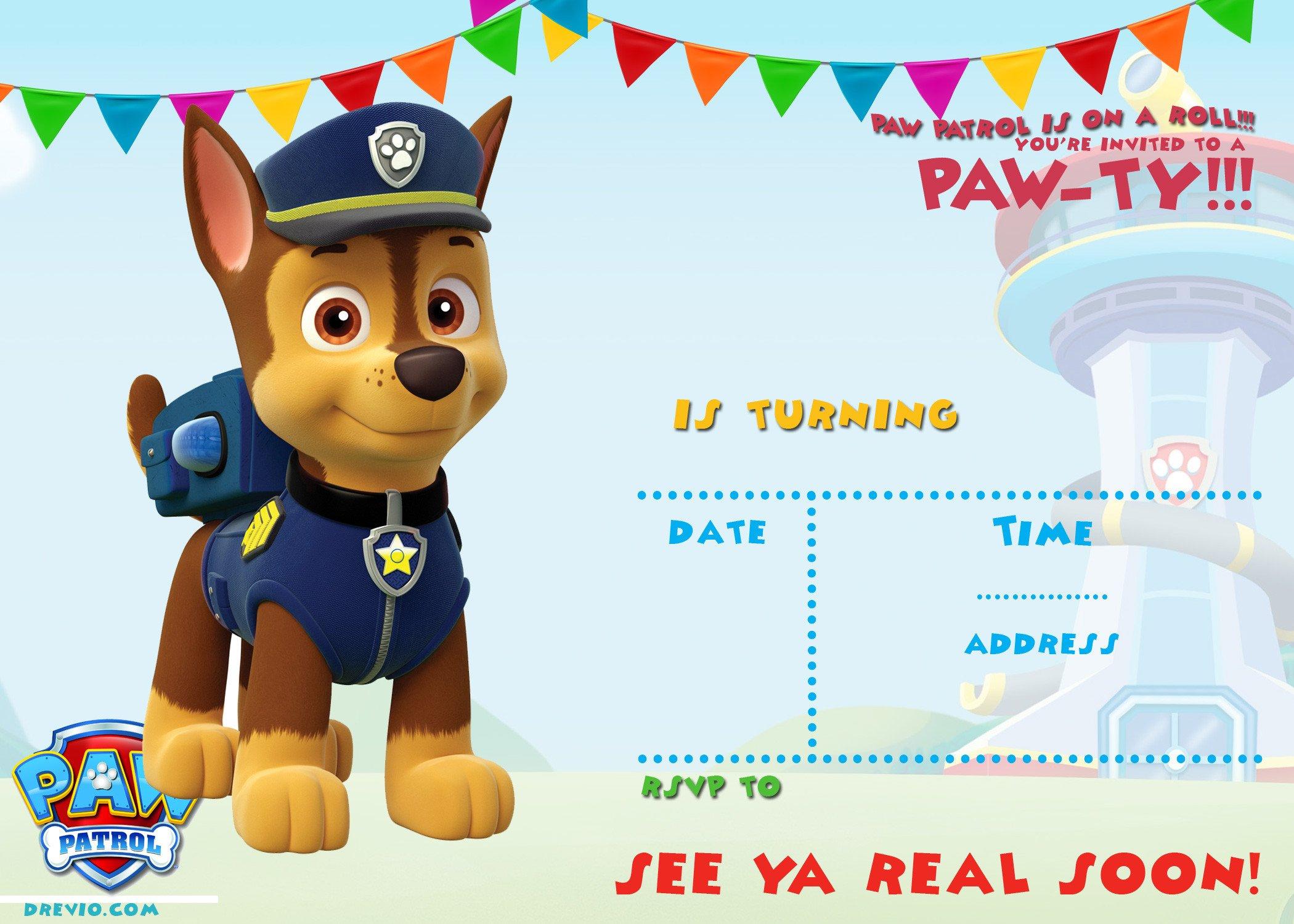 Paw Patrol Invitation Templates Free Printable Paw Patrol Birthday Invitation Ideas
