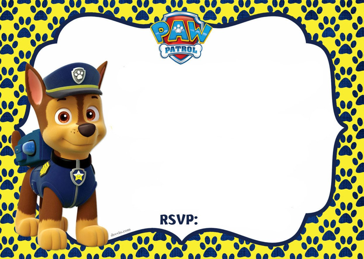 Paw Patrol Invitation Templates Free Printable Paw Patrol Chase Invitation Template