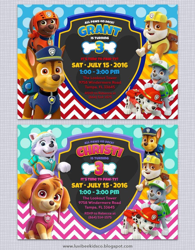 Paw Patrol Invitation Templates Paw Patrol Birthday Invitations Free Printables