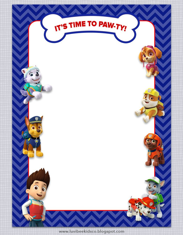 Paw Patrol Invitation Templates Paw Patrol Birthday Invitations Free Printables