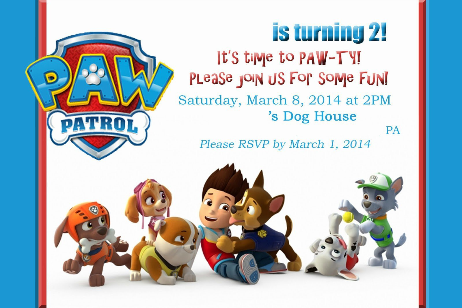 Paw Patrol Invitation Templates Paw Patrol Birthday Invitations Paw Patrol Birthday