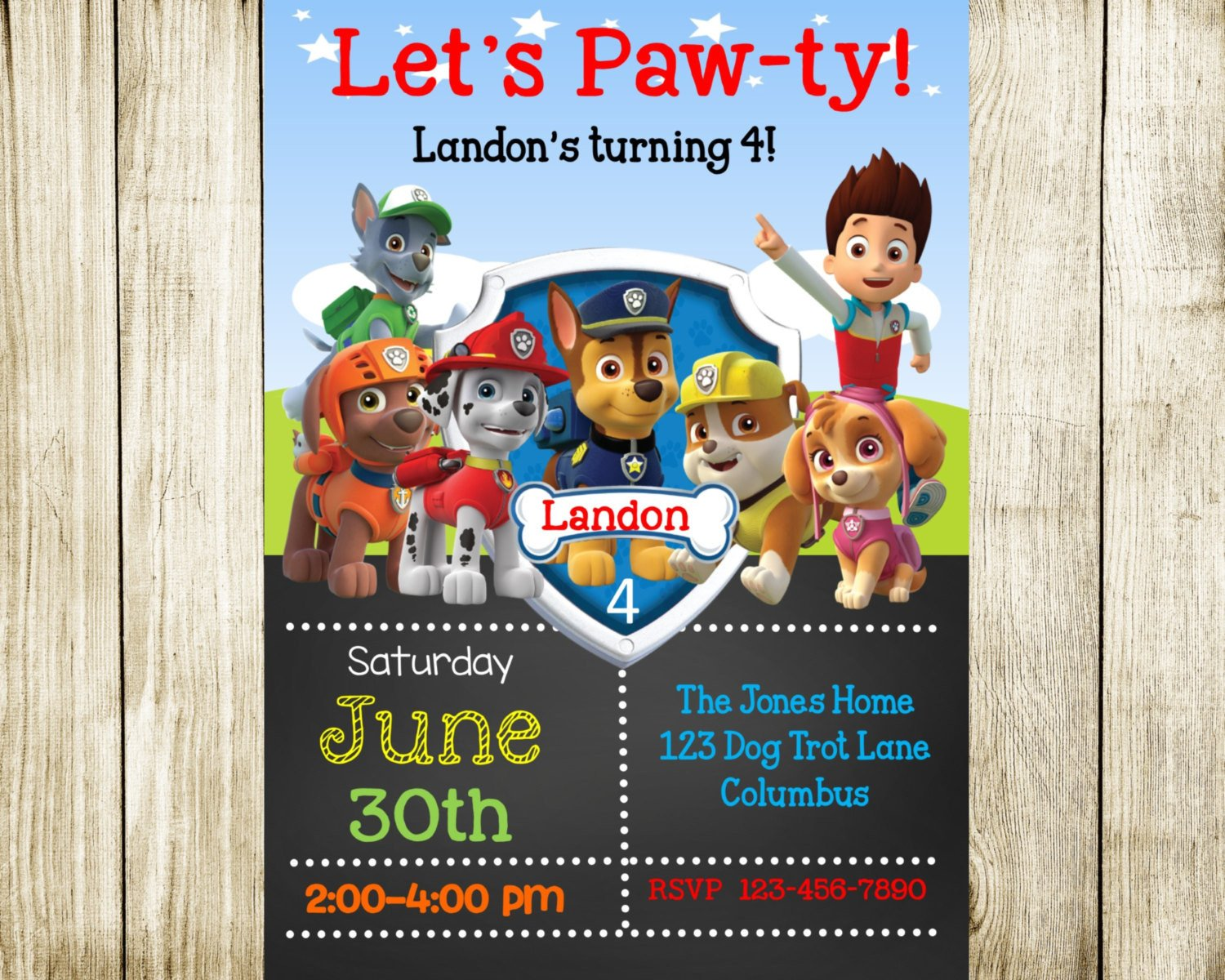 Paw Patrol Invitation Templates Paw Patrol Birthday Paw Patrol Invitation by Needmoredesigns