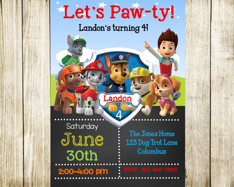 Paw Patrol Invitation Templates Paw Patrol Birthday Paw Patrol Invitation by Needmoredesigns
