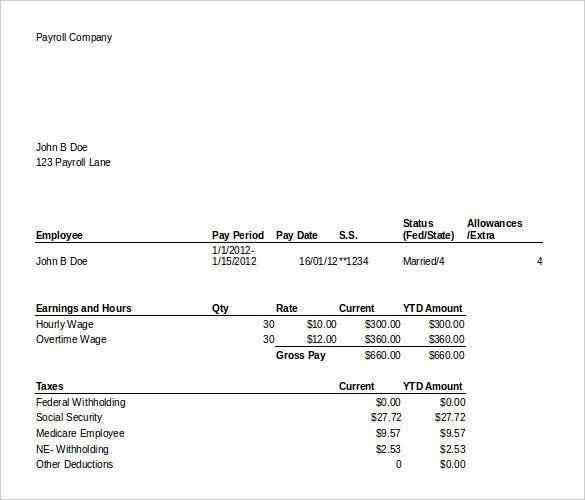 Pay Stub Template Excel 24 Pay Stub Templates Samples Examples & formats