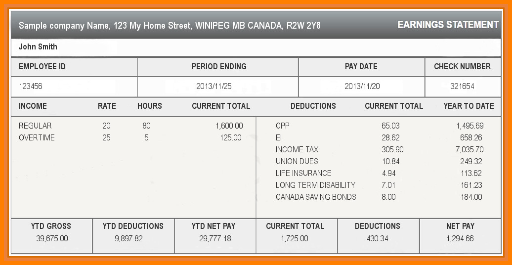 Pay Stub Template Excel 5 Paycheck Stub Template Excel