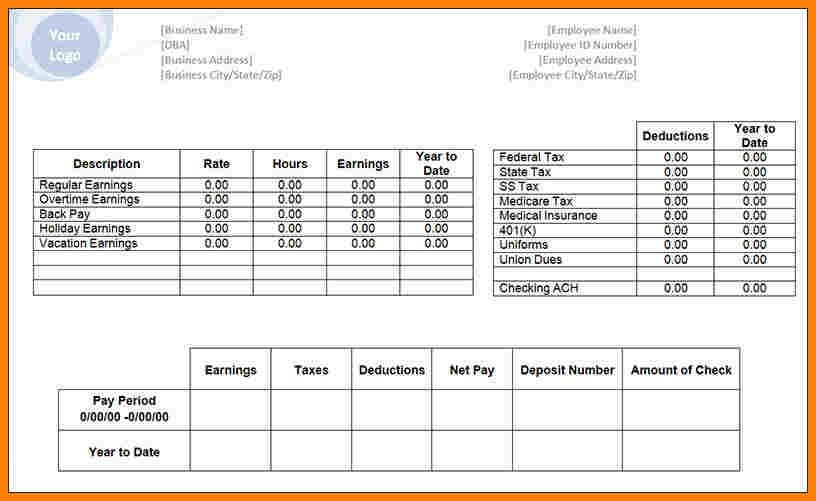 Pay Stub Template Excel 9 Pay Stub Template Excel