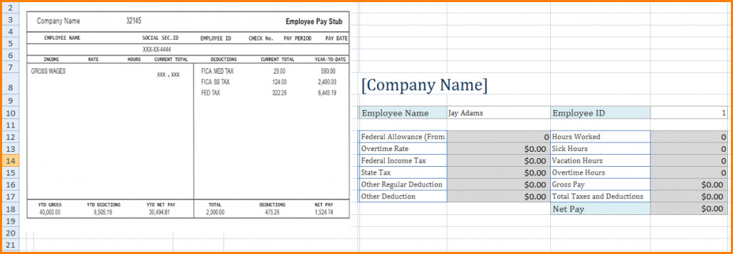 Pay Stub Template Google Docs 6 Microsoft Excel Pay Stub Template