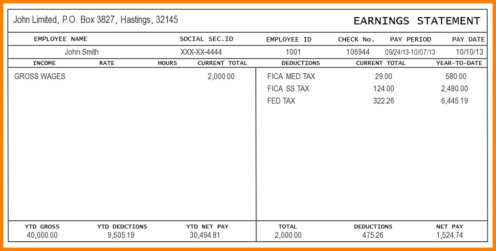 Pay Stub Template Word Document 5 Pay Stub Template Word