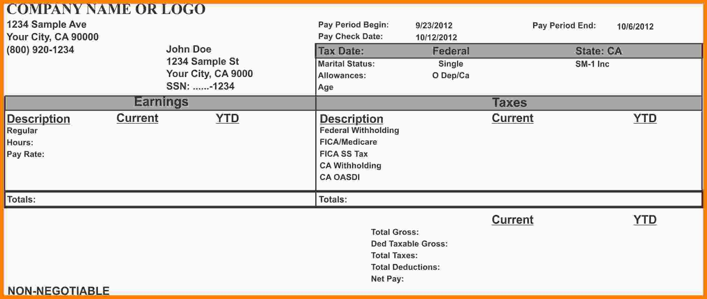 Pay Stub Template Word Document 8 Pay Stub Template Microsoft Word