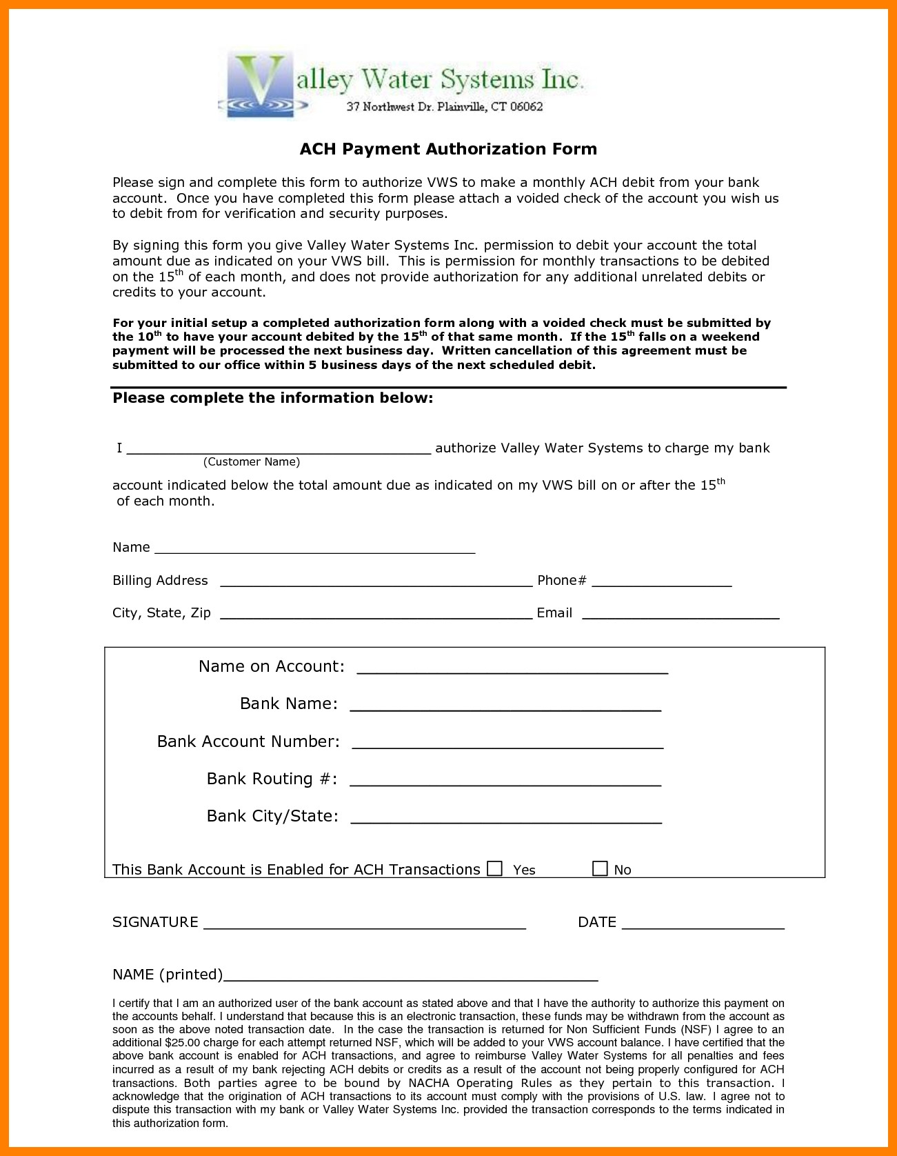 Payment Authorization form Template 10 Ach Payment form Template