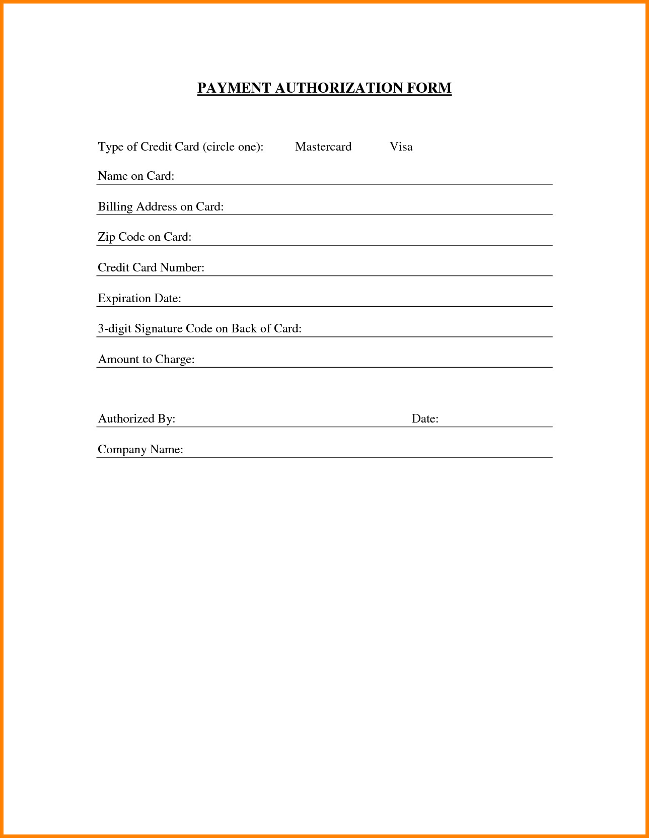 Payment Authorization form Template 8 Payment Authorization form Template