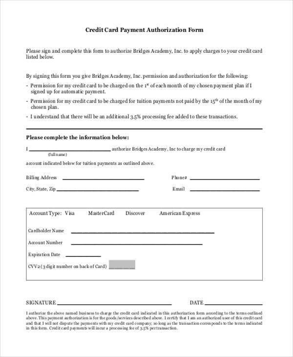 Payment Authorization form Template Authorization form Templates