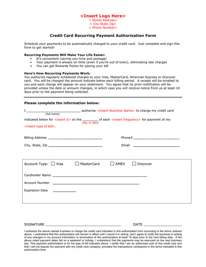 Payment Authorization form Template Credit Card Recurring Payment Authorization form In Word