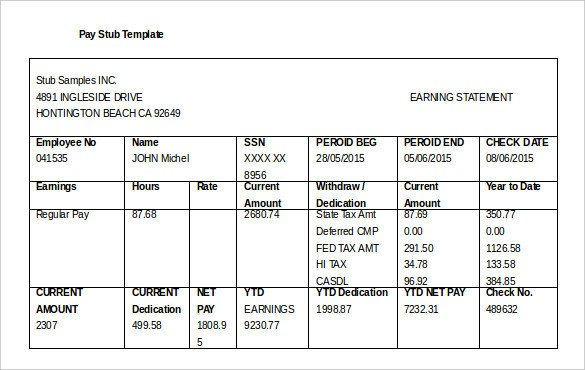 Payroll Check Stub Template 24 Pay Stub Templates Samples Examples & formats