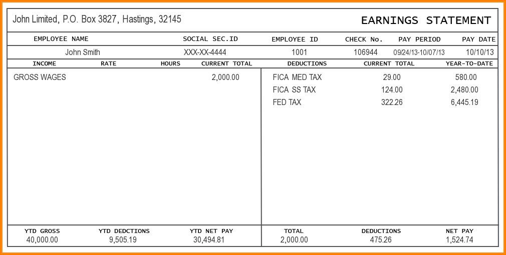 Payroll Check Stub Template 9 Free Editable Pay Stub Template