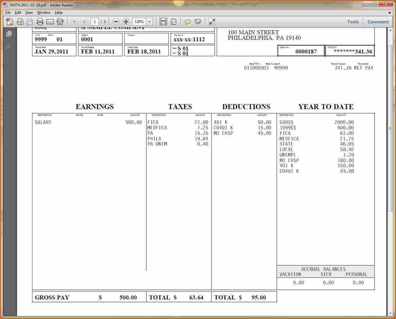 Payroll Check Stub Template 9 Printable Payroll Checks
