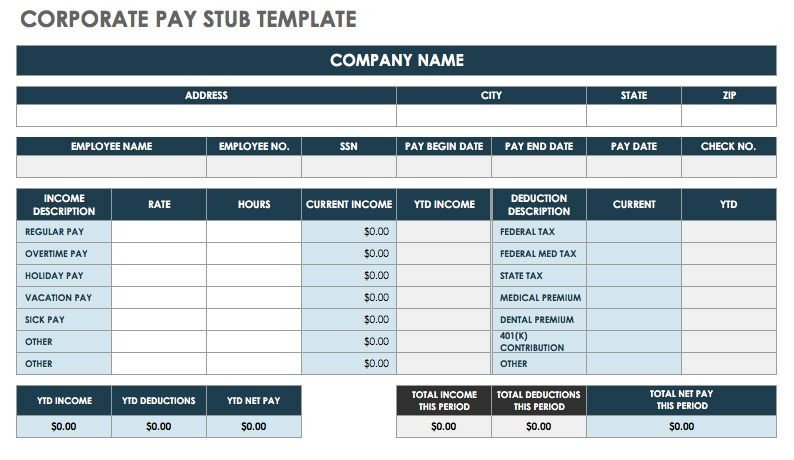 Payroll Check Stub Template Free Pay Stub Templates